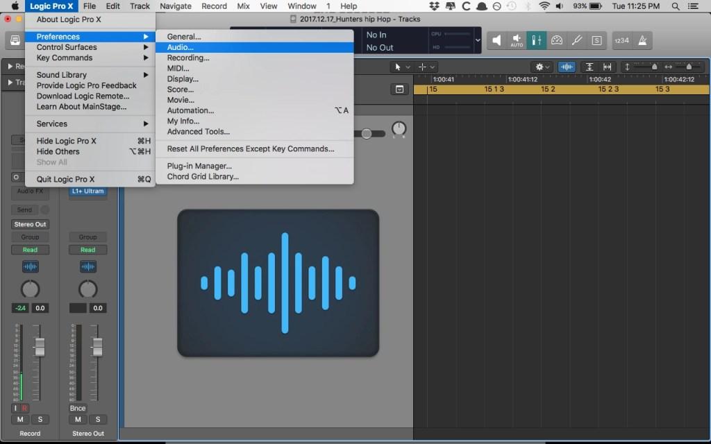 Logic Pro X Audio Preference Menu