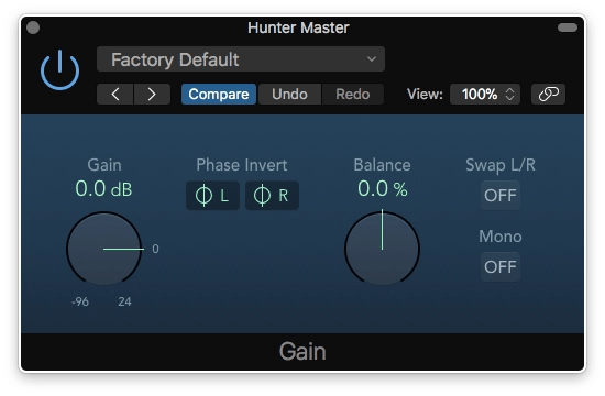Logic Pro X Gain Plugin Left and Right Phase Inverted