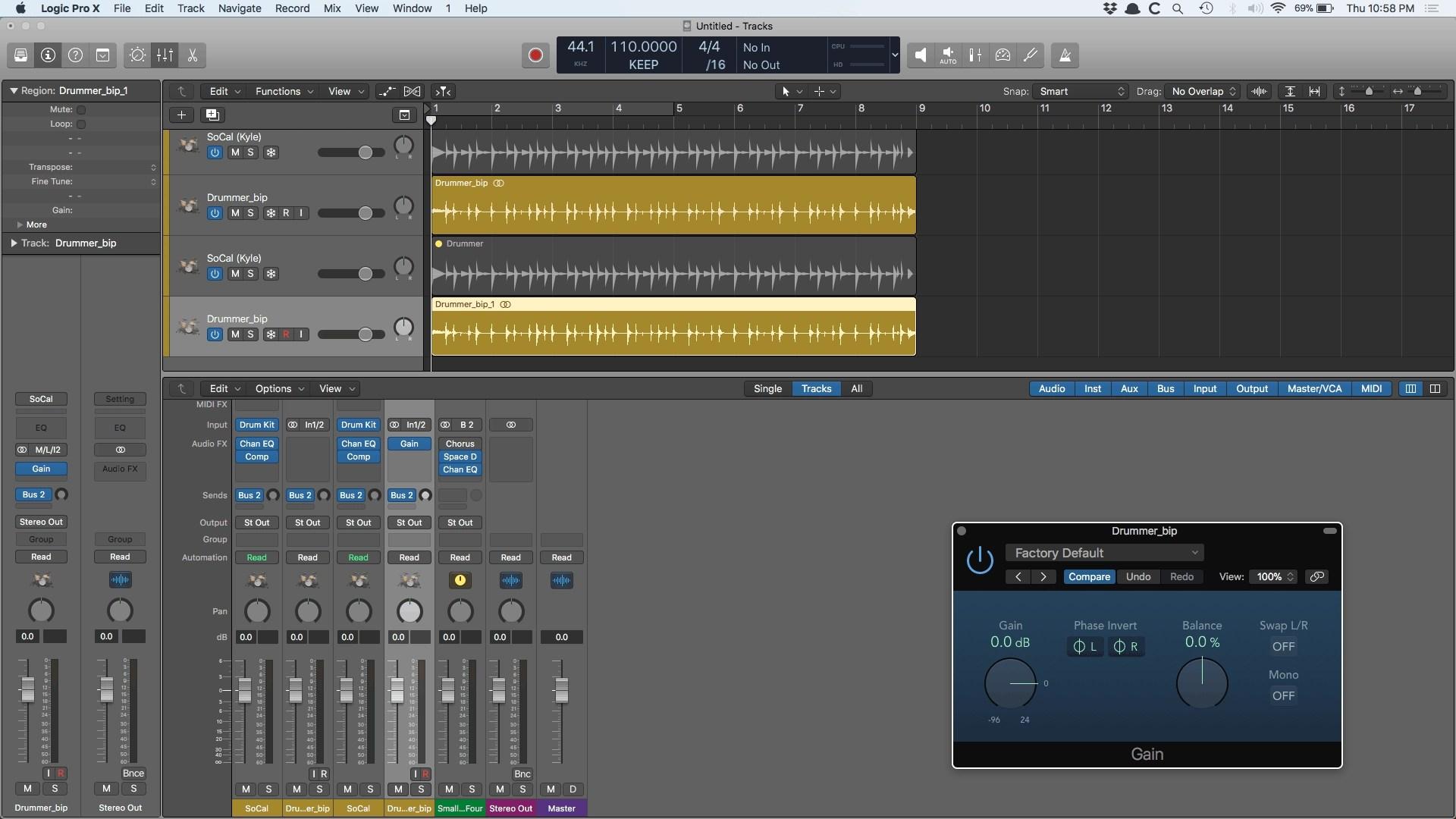 Logic Pro X Drummer Bounce in Place Gain Plugin
