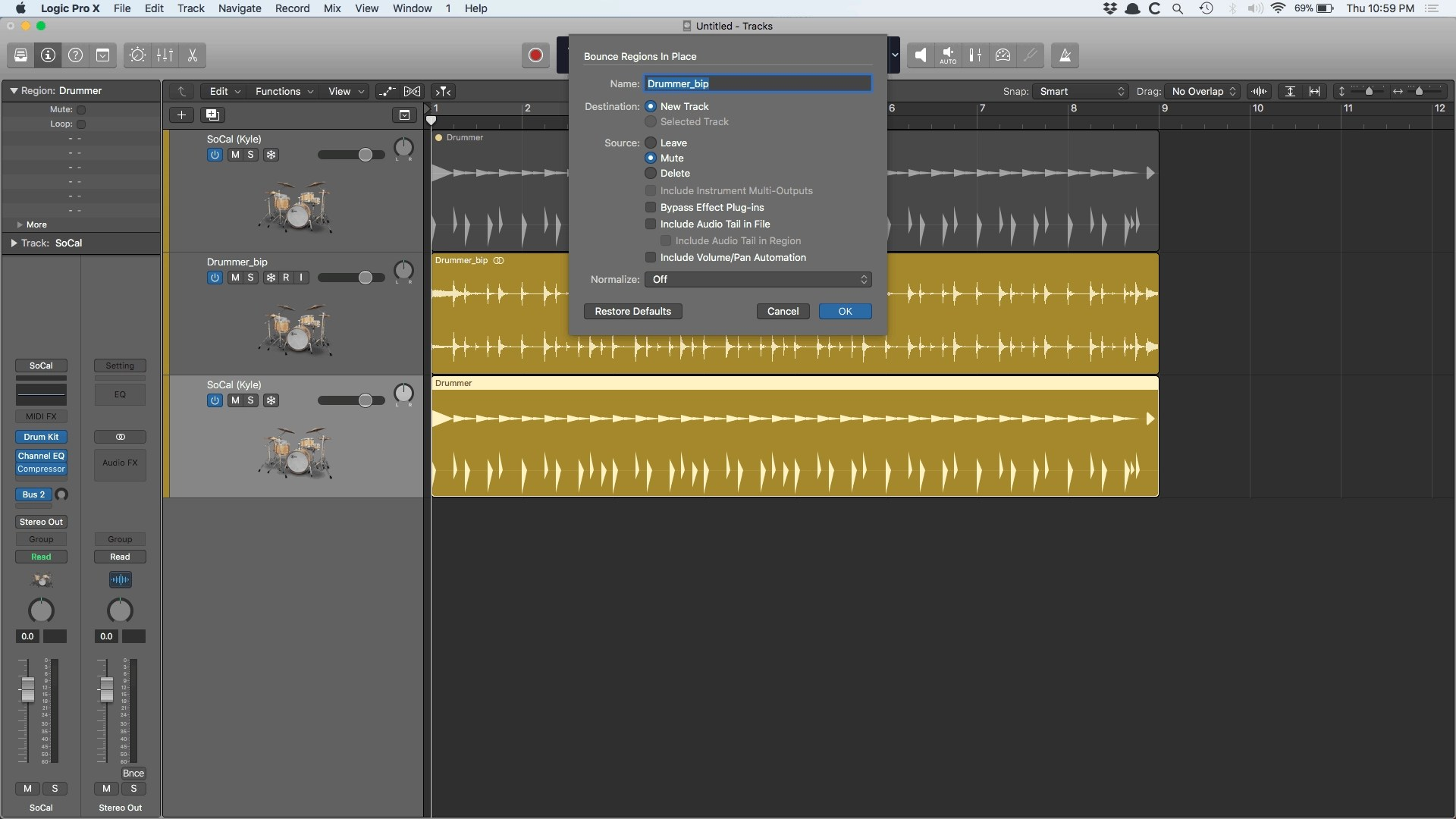 Logic Pro X Drummer Bounce in Place