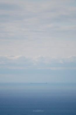 Barge on Lake Michigan Horizon - Blue Gradient