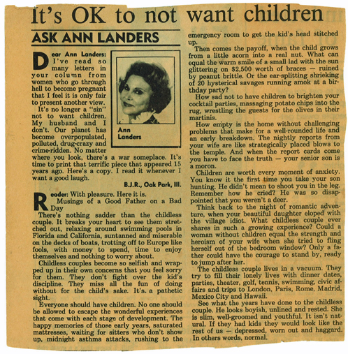 Ann Landers: It's OK to not want children