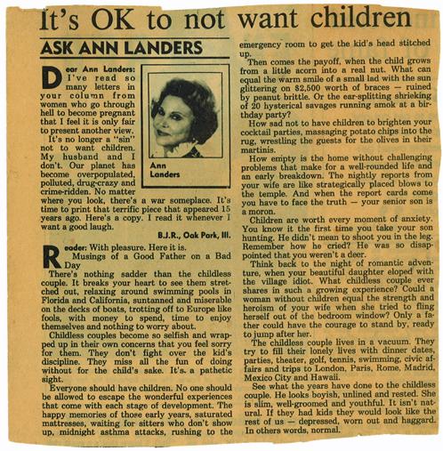 Ann Landers: It's OK to not want children