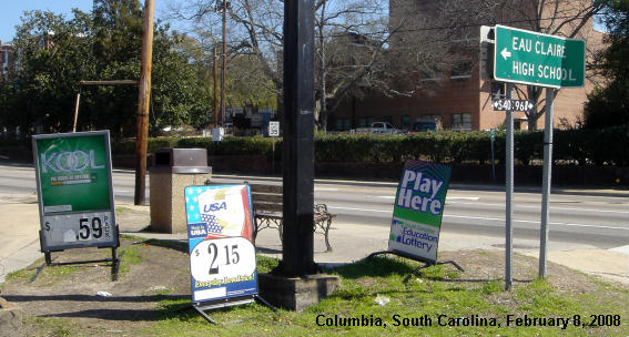 picture showing cigarette marketing near a school