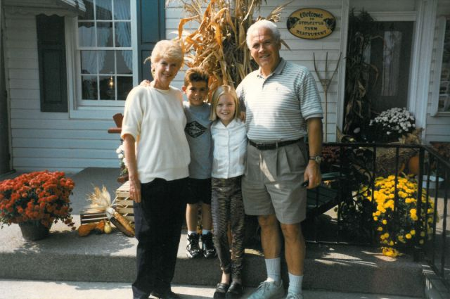 Emma Stone and her brother, Spencer, with grandmother Jean Morgan and her husband Bob about 20 years ago