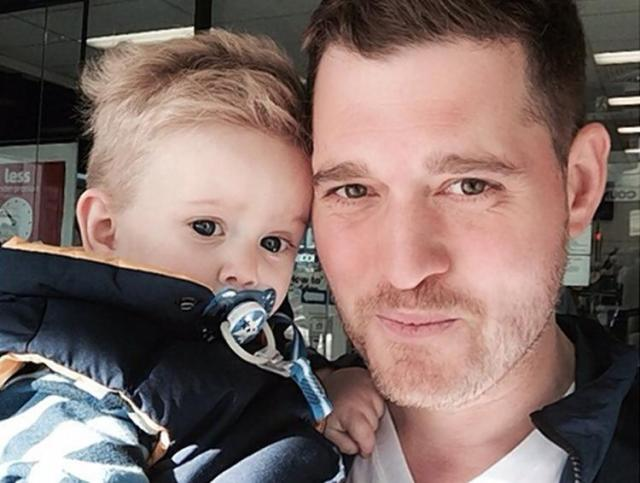 Michael Buble and his son Noah, who is currently undergoing chemo for liver cancer.