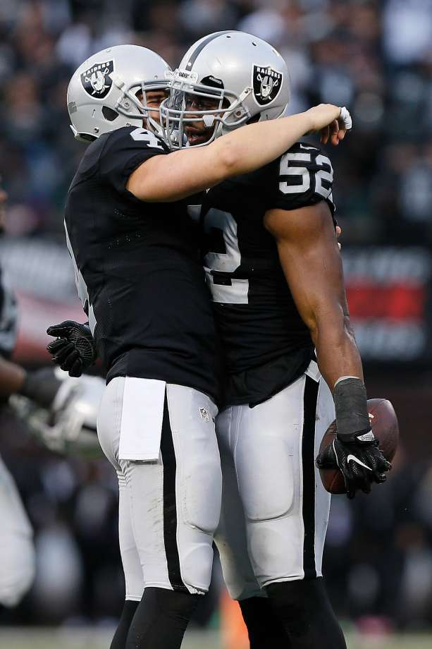 Quarterback Derek Carr celebrates with linebacker Khalil Mack after Mack's fumble recovery against Buffalo on Dec. 4. Photo: Brian Bahr, Getty Images