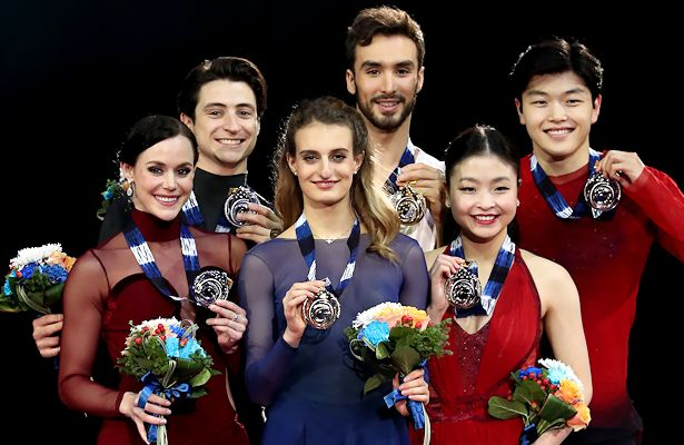 From Left to Right: Tessa Virtue and Scott Moir (CAN), Gabriella Papadakis and Guillaume Cizeron (FRA), Maia Shibutani and Alex Shibutani (USA) Photo © Robin Ritoss