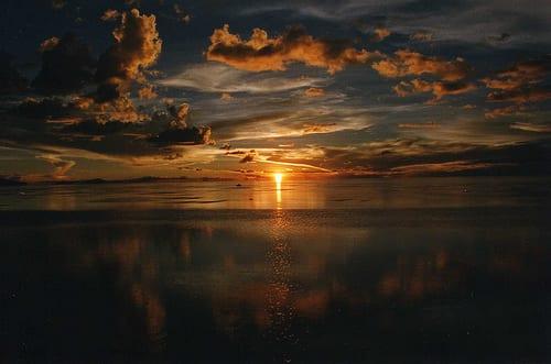 Sunset over the Salar de Uyuni