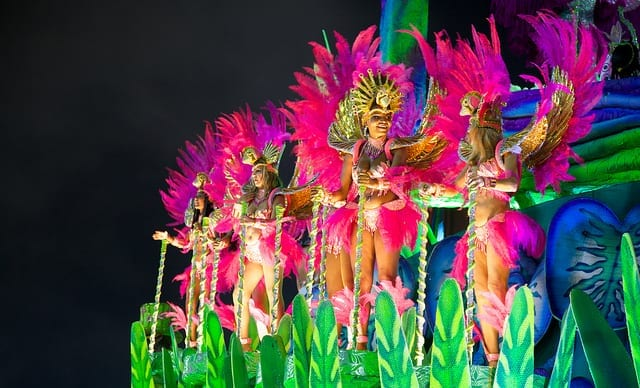 Dancers on a Float at Carnaval in Brazil