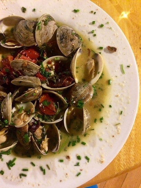 Clams in a White Wine Broth at Yosemite Bug Rustic Mountain Resort - The Best Hostel in the US