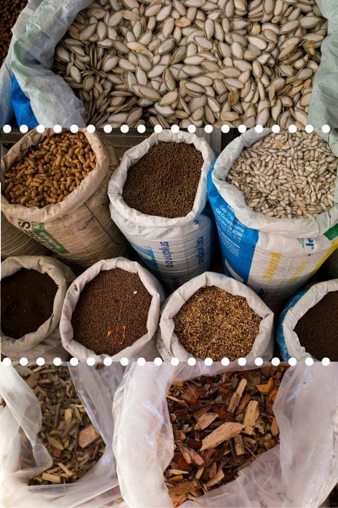 Dried herbs and woods for cooking and medicinal uses - Market in Cancun