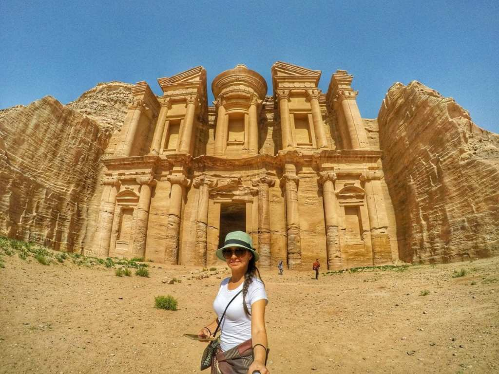 A Girl in Front of the Monastery at Petra - Visit Petra