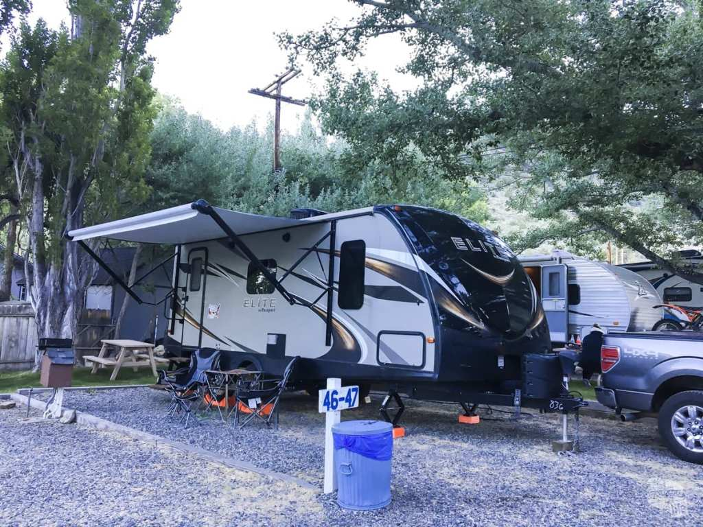 Our RV camped at the campsite at Mono Vista RV Park - A 7 Week RV Trip in the American West