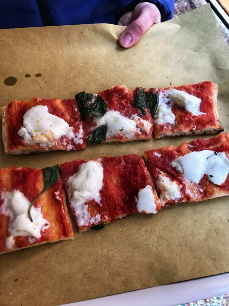 Sampling Pizza Margherita from a Street Stand with Delicious Bologna