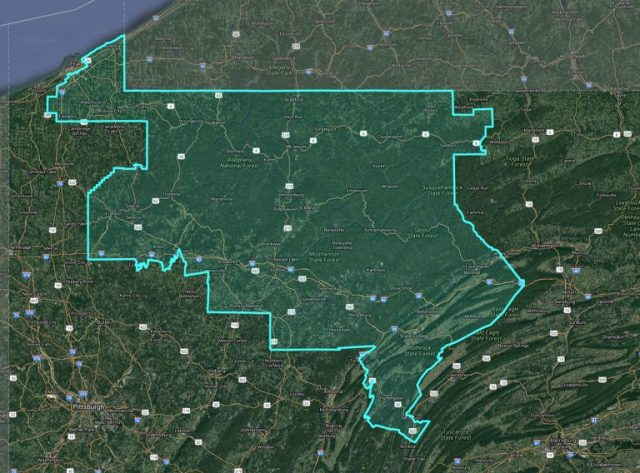 Pennsylvania's 5th congressional district was among those criticized in federal court on Monday as a possible partisan gerrymander. An expert witness pointed to Erie County in the far northwest corner of the state. The county was split during the 2011 redistricting process. The result, the witness said, dilutes a concentration of Democratic voters and instead favors Republican voters. (Pa. Redistricting website)