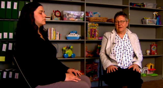 Kelliann O'Hare and MATER director Diane Abatemarco practicing mindfulness. (WHYY)