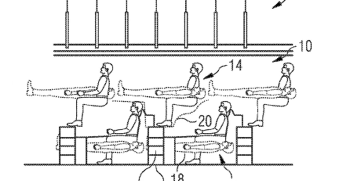 Airbus 'mezzanine' patent has passengers stacked on top of