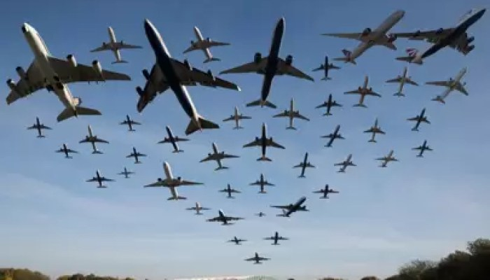 This composite photo shows planes taking off from Heathrow on November 2, 2016. A total of 42 planes were captured during a one hour period  Dan Kitwood/Getty Images
