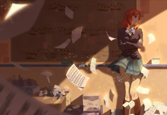 Love Live School Idol Character Notes Music Girl Alone Anime Girl Alone Smile 1018x700 Download Hd Wallpaper Wallpapertip