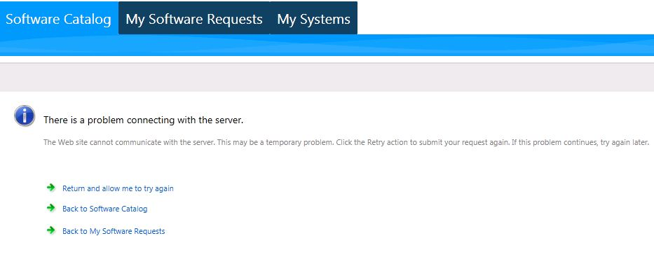 Error with Software Catalog