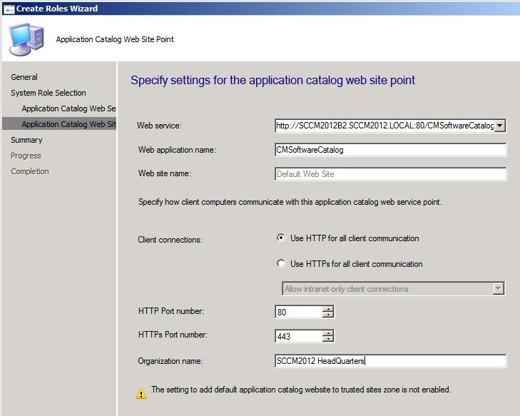 Application Catalog WebSite Setup