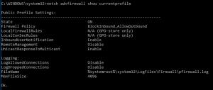 netsh advfirewall show currentprofile