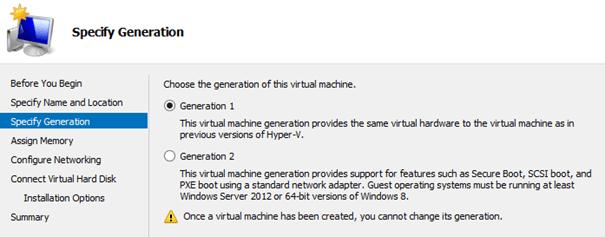 UEFI, Generation 2 VM, Windows 7 SP1 and Hyper-V Server 2012 R2 (or
