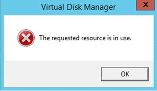 Microsoft Failover Cluster - Requested resource is in use \u2013 Disk Manager