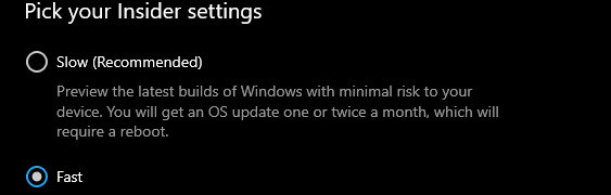A different Windows Insider Program Settings page - #18317