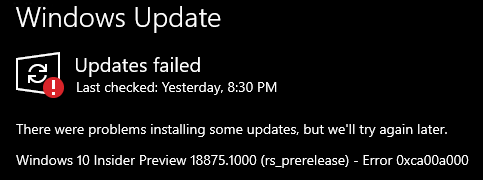 How-to: Fix Windows Update error 0xca00a000