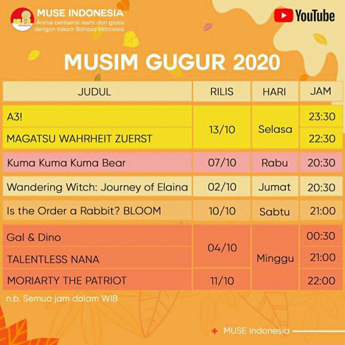 Muse Indonesia akan Menayangkan Anime Wandering Witch: The Journey of Elaina, Kuma Kuma Kuma Bear, Is the Order a Rabbit? BLOOM 10