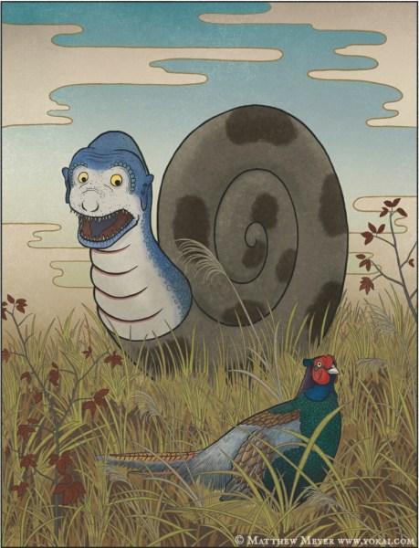 Kijikui, Youkai seperti Siput Besar yang Memangsa Burung Pegar 1