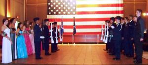 Photo by Lt. Col. Jo Stys - With the Honor Guard at their post, the squadron queens and kings are announced.