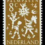 Kinderpostzegel Palmpasen uit 1961. Met toestemming overgenomen van Museum voor Communicatie, Den Haag