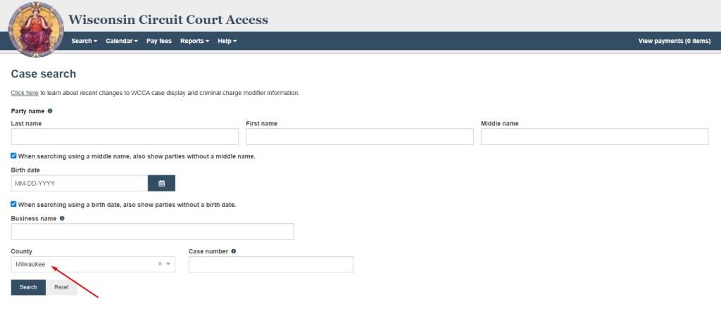 Wisconsin CCAP Milwaukee Court records