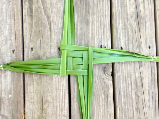 Another Brigid's Cross? Yes. But this one is much bigger than the others I've made because I'm using another fern which has much larger fronds. I wish I knew the names of these plants.