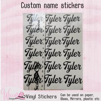 Vinyl Name sticker sheet, lunch box decal, custom name sticker