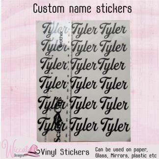 Vinyl Name sticker sheet, lunch box decal, custom name sticker