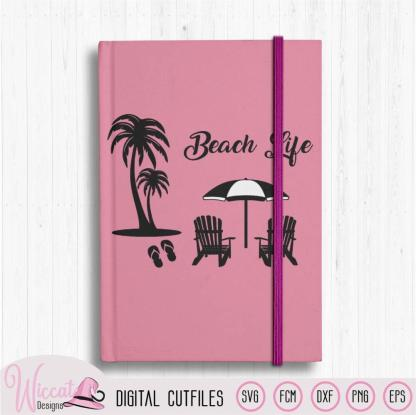 Beach life quote with Palm trees