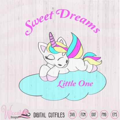 Sleeping baby unicorn on cloud svg, FCM, SVG, dxf, png file