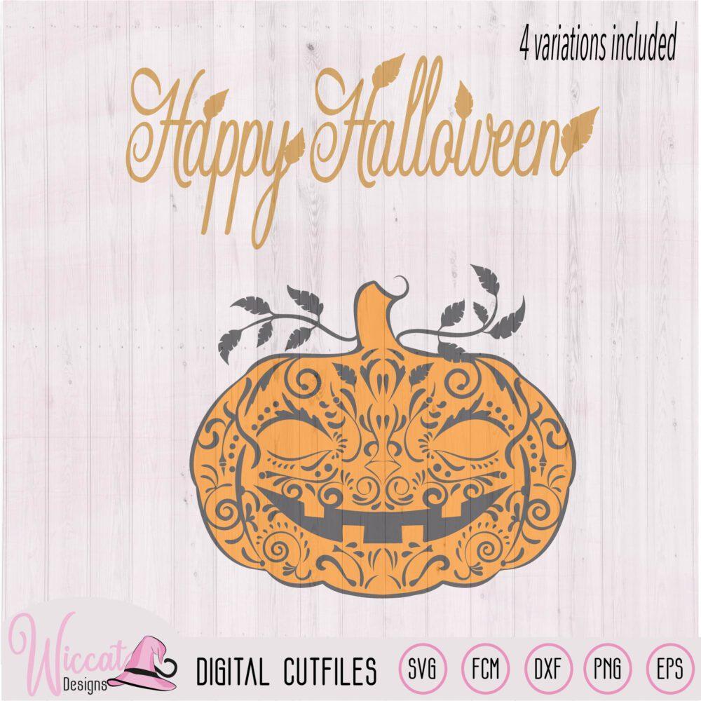 Doodle Pumpkin Happy Halloween Svg Wiccat Designs