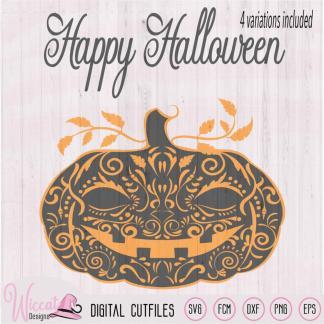 Doodle Pumpkin, Happy halloween svg,