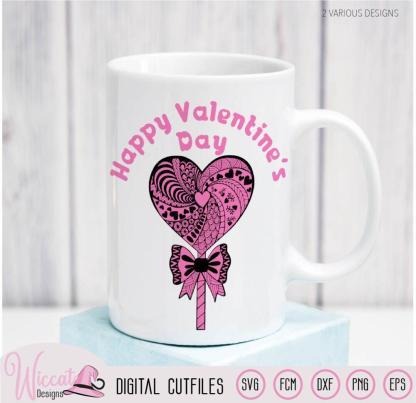 Lollipop zentangle Heart, valentine doodle heart