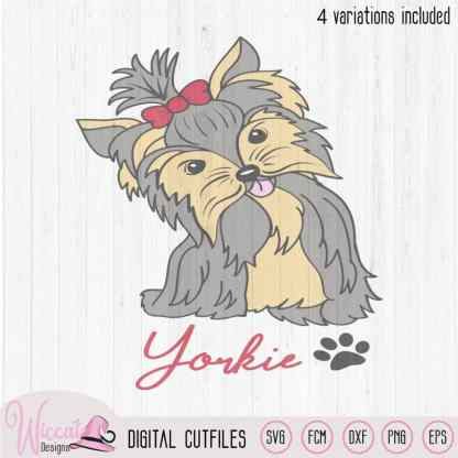 Cute Yorkie dog, Yorkshire terriër, Line art svg, silhouette girly dog, scanncut files, vector dog, svg cricut, vinyl craft, plotter file