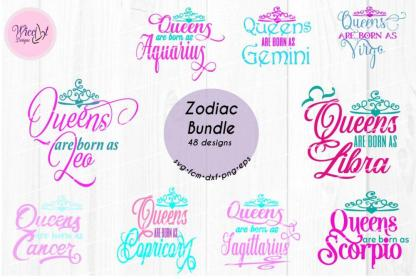 Zodiac bundle, zodiac Queen svg,