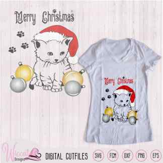 Christmas kitten svg, cats with Ornament svg