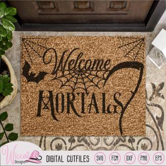 Welcome mortals, doormat design, Halloween quote,