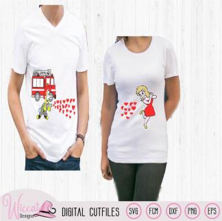 Firefighter couple shirt, valentine couple