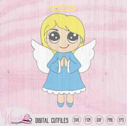 Praying Christmas angel, Kawaii angel,